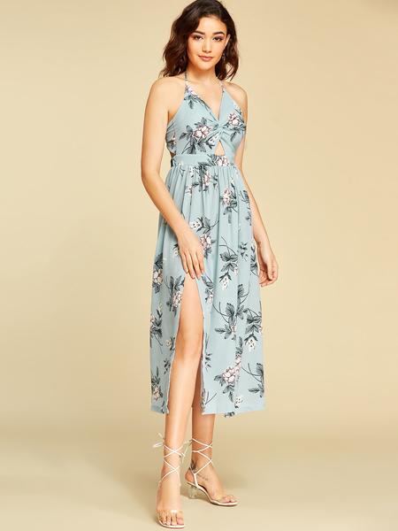 Yoins Blue Backless Design Random Floral Print Halter Dress