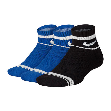 Nike Big Boys 3 Pair Quarter Socks, 9-11 , Blue