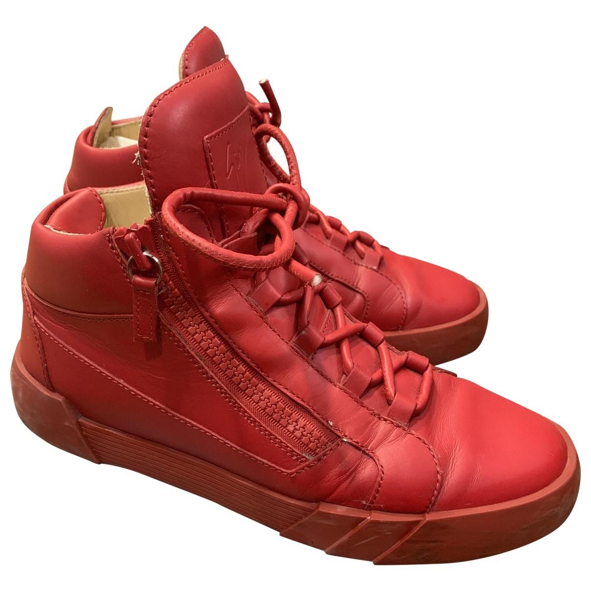 Giuseppe Zanotti - Baskets   pour homme en cuir - rouge