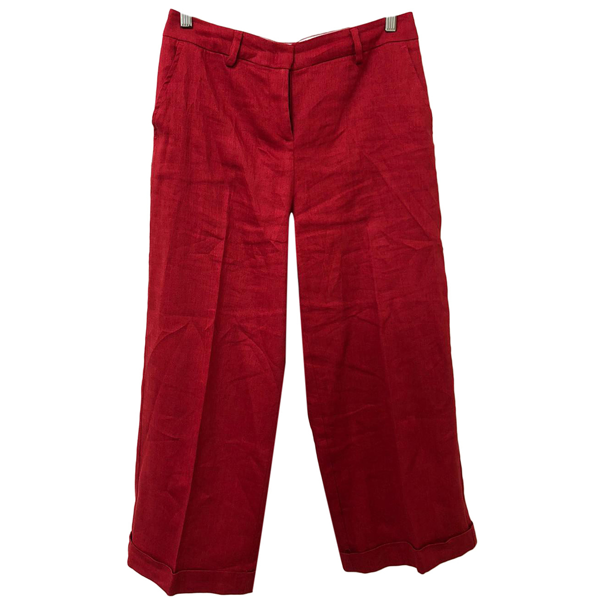 Intrend N Red Linen Trousers for Women 4 US