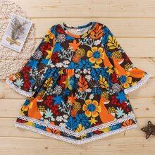 Toddler Girls Flower Print Babydoll Dress