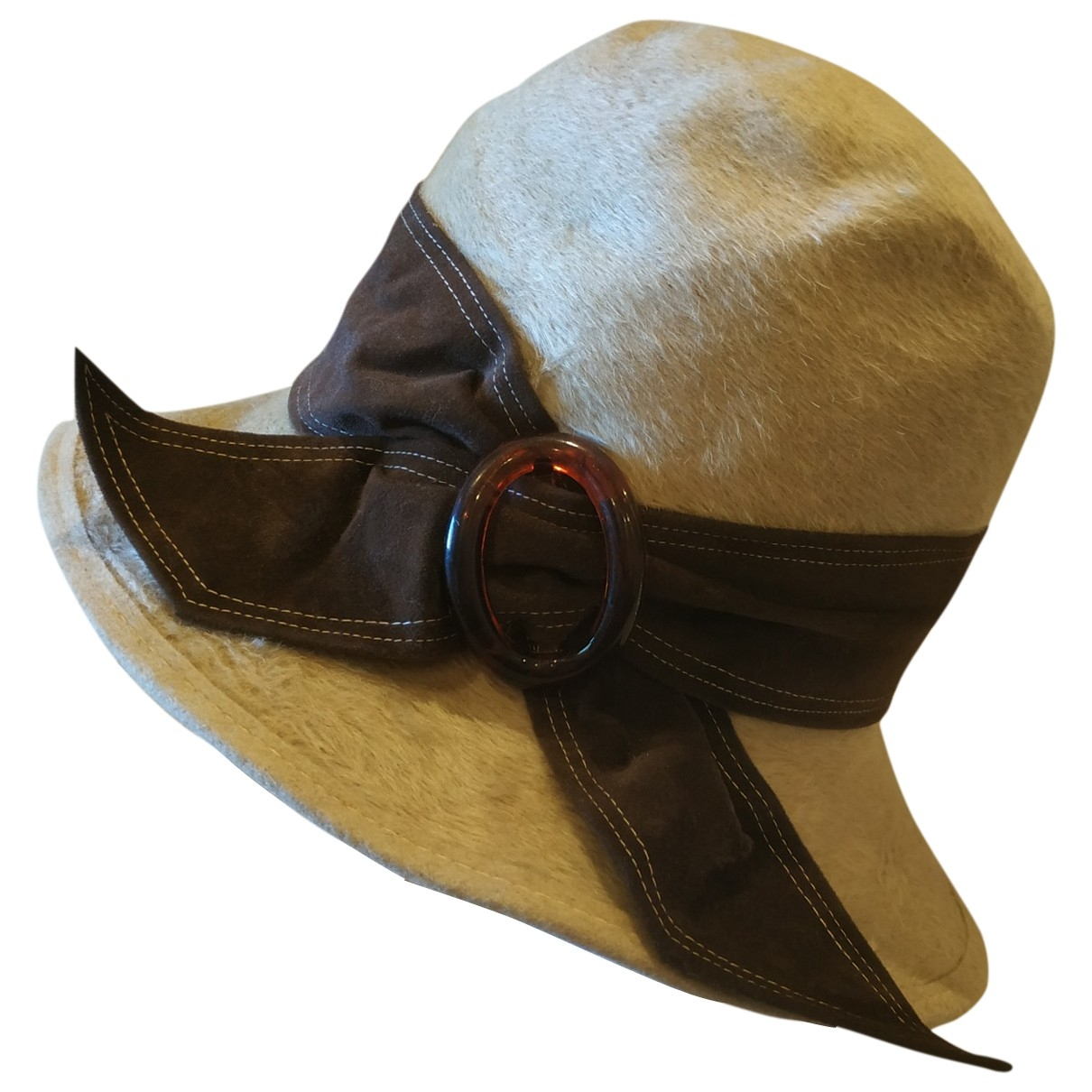 Non Signé / Unsigned \N Beige Leather hat for Women 57 cm