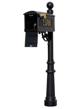 LMC-LKIT-804-BLK Lewiston Equine Mailbox Post System with Locking Insert  fluted base  ball finial and 3 cast aluminum personalized address