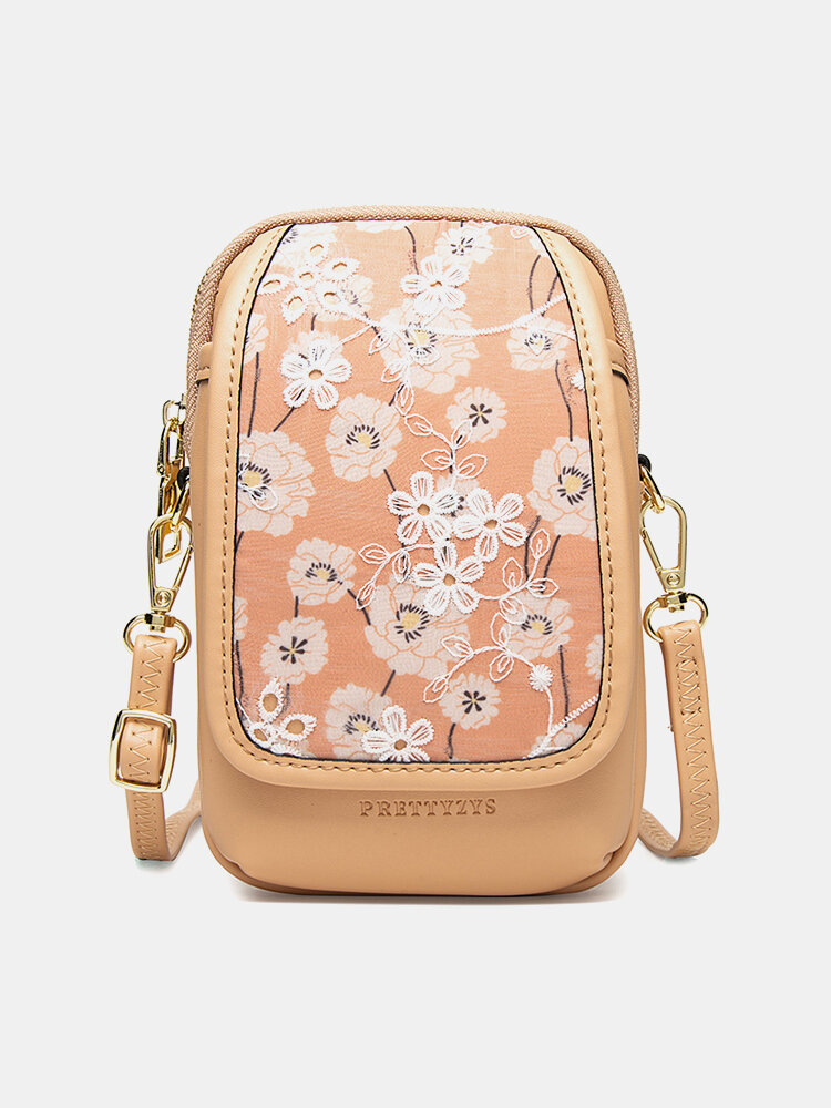 Women Floral Print 6.5 Inch Phone Bag Crossbody Bag