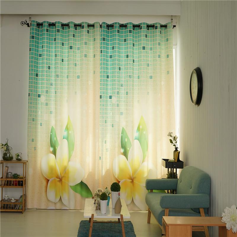 Decorative Polyester Digital Printing Beautiful Blossoms Romantic Style 2 Panels Curtain
