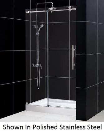 SHDR-61487610-07 Enigma-X 44-48 In. W X 76 In. H Fully Frameless Sliding Shower Door In Brushed Stainless