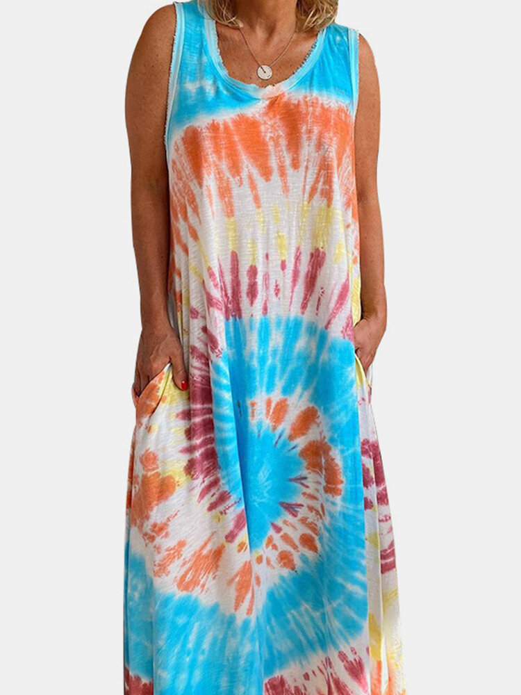 Tie-dye Sleeveless O-neck Maxi Dress With Pocket