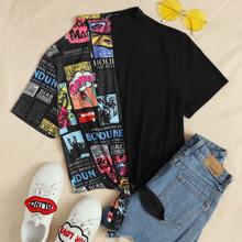 T-Shirt mit Stehkragen, Knoten am Saum und Pop Art Muster