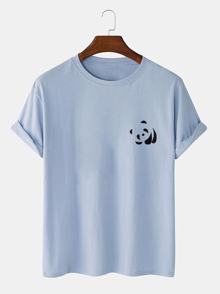 Mens 100% Cotton Panda Print Round Neck Casual Short Sleeve T-Shirts