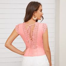 Tie Back Guipure Lace Detail Top