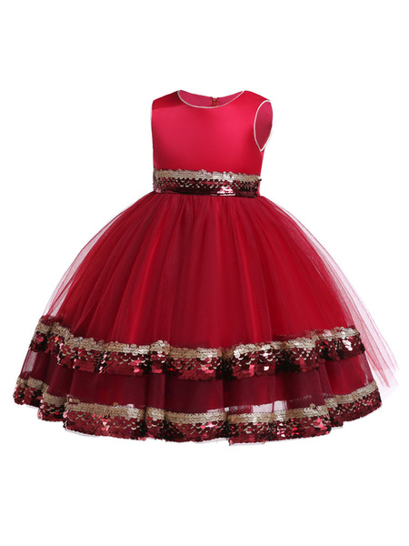 Milanoo Flower Girl Dresses Sequin Tulle Sleeveless A Line Sash Kids Formal Dress