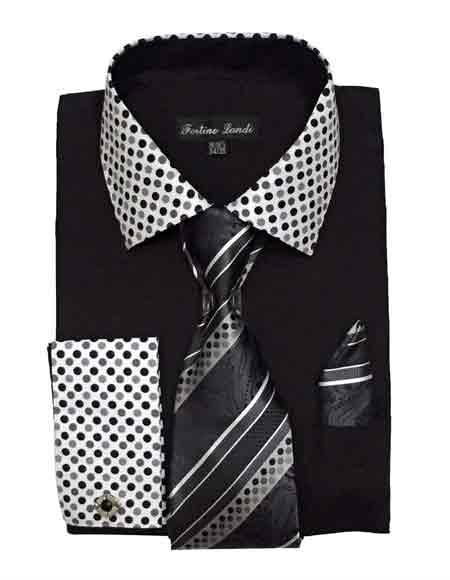 Mens Black Solid Dot Pattern Dress Shirt With Tie Hanky French Cuff