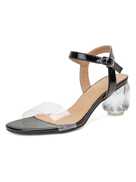 Milanoo Mid Heel Sandals Womens Transparent Open Toe Slingback Block Heel Sandals