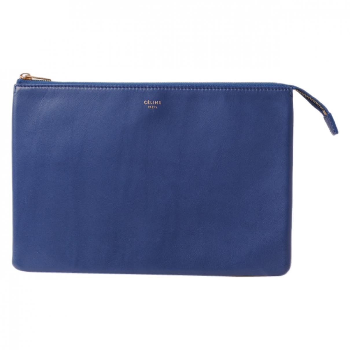 Celine - Pochette Cabas pour femme en cuir - bleu