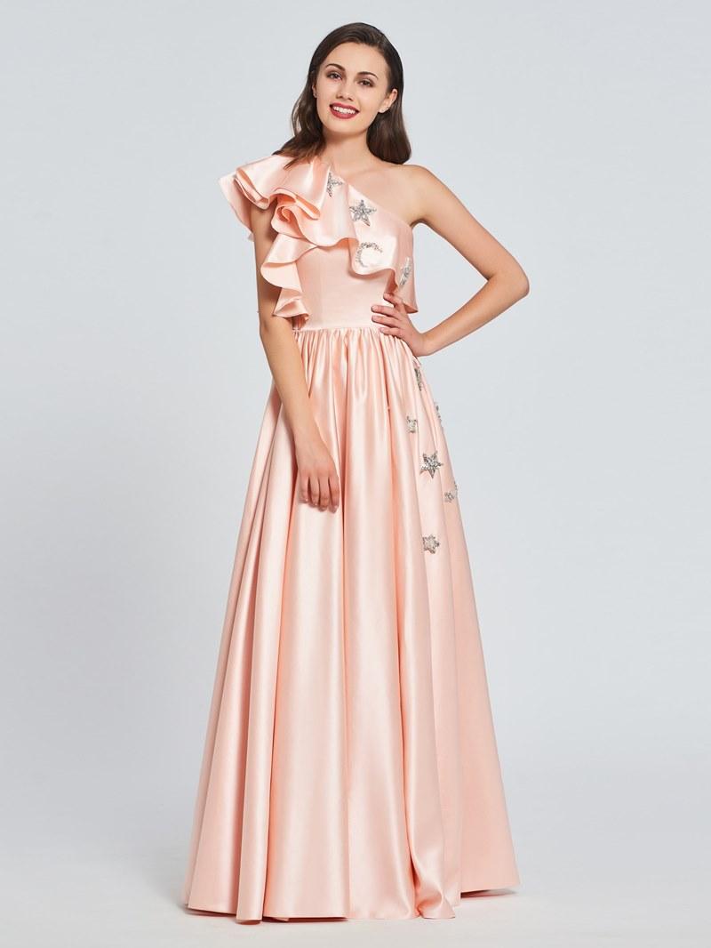 Ericdress A-Line One-Shoulder Appliques Ruffles Prom Dress