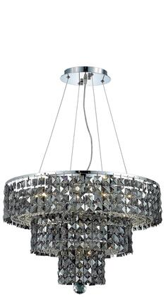 2037D20C-SS/RC 2037 Maxim Collection Hanging Fixture D20in H16in Lt: 9 Chrome Finish (Royal Cut Silver Shade