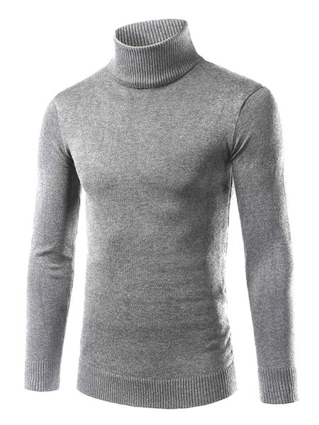 Milanoo Men's Knitted Sweater Light Grey High Collar Long Sleeve Slim Fit Pullover Jumper