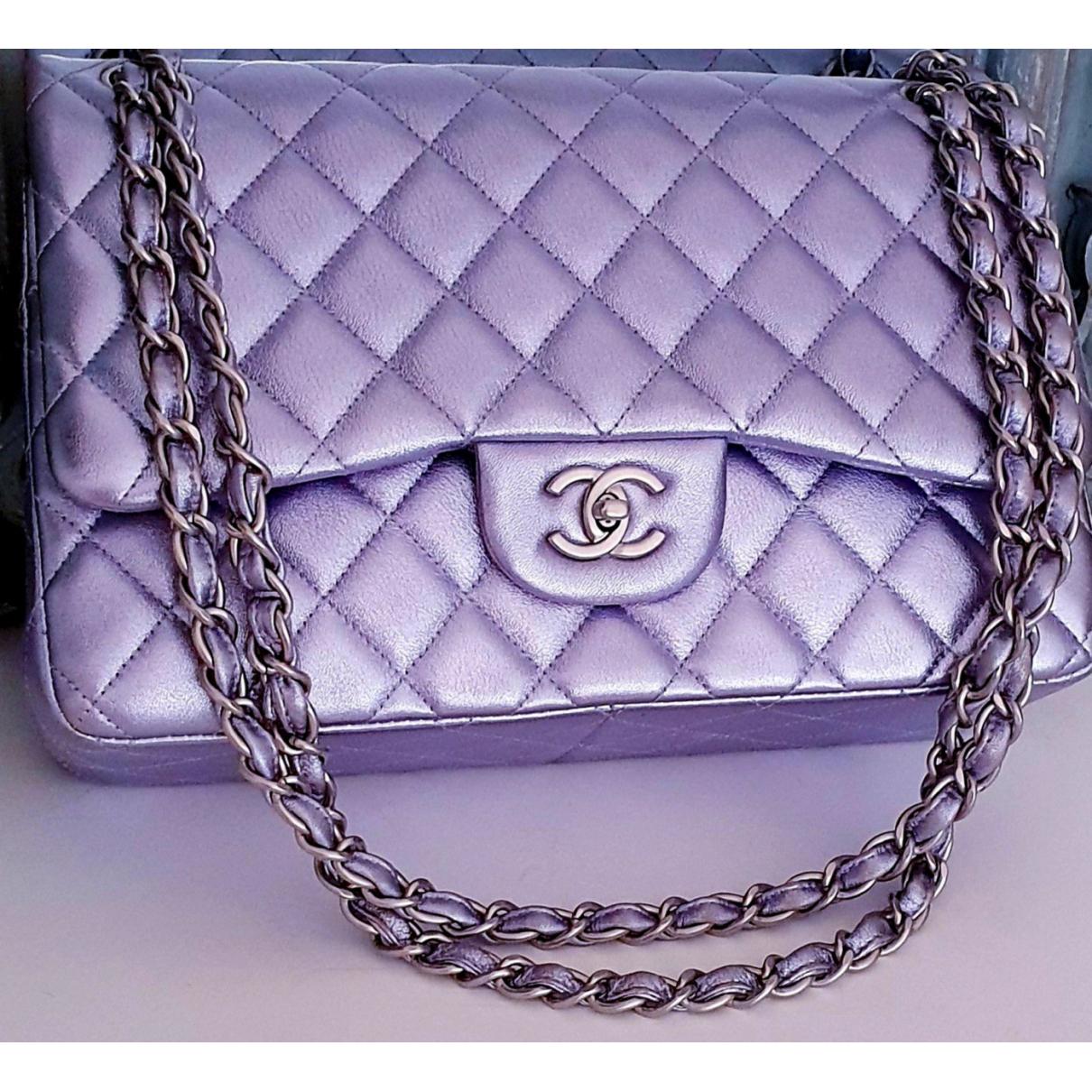 Chanel - Sac a main Timeless/Classique pour femme en cuir - violet