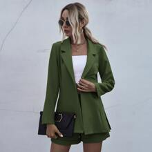 Lapel Neck Slit Hem Solid Blazer & Shorts