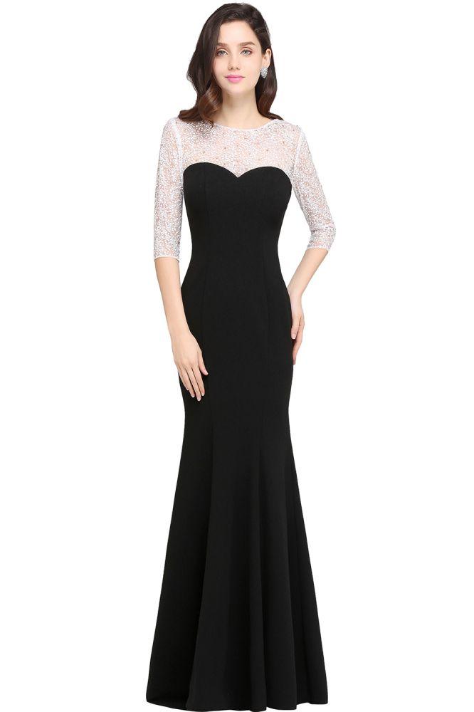 ARIEL | Sirena palabra de longitud negro barato vestidos de noche con encaje