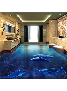 3D Blue Sea and Dolphins Printed Waterproof Sturdy Non-slip Eco-friendly Floor Murals