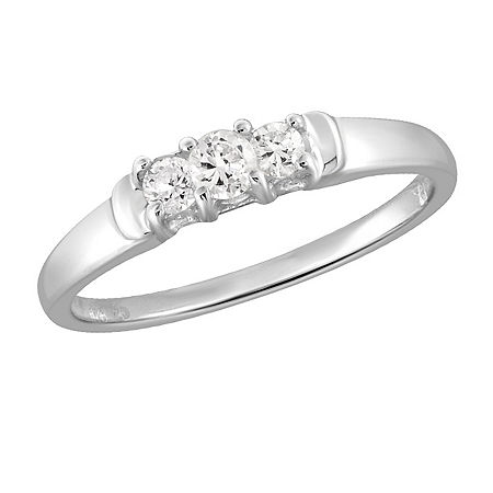 Womens 3/4 CT. T.W. White Cubic Zirconia Sterling Silver 3-Stone Promise Ring, 7 , No Color Family