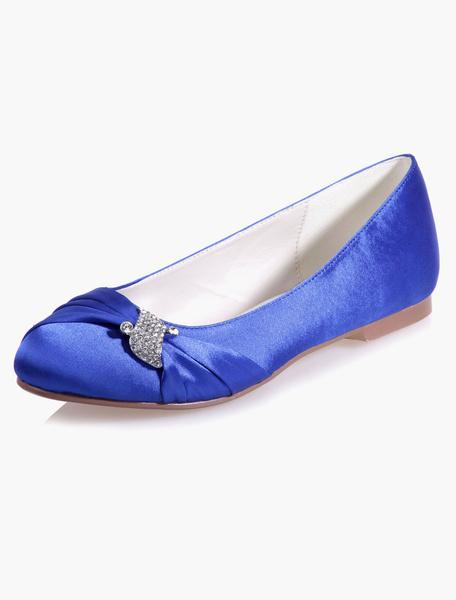 Milanoo Zapatos de novia de saten Zapatos de Fiesta Plana Zapatos blanco  Zapatos de boda de puntera redonda 1cm con pedreria