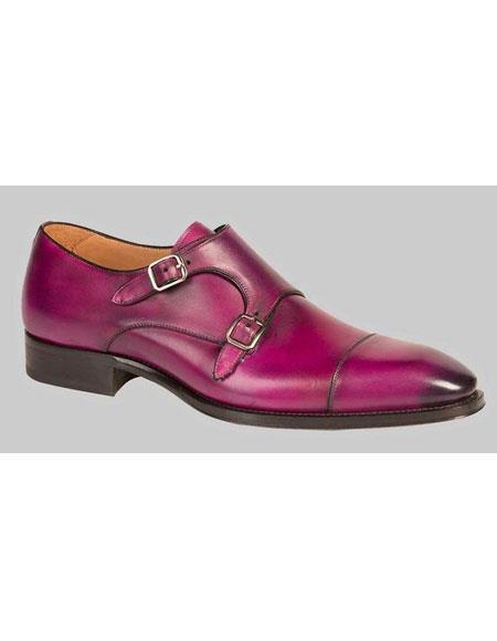 Mens Bold Purple Calfskin Monk Strap Cap Toe Leather Shoes Brand