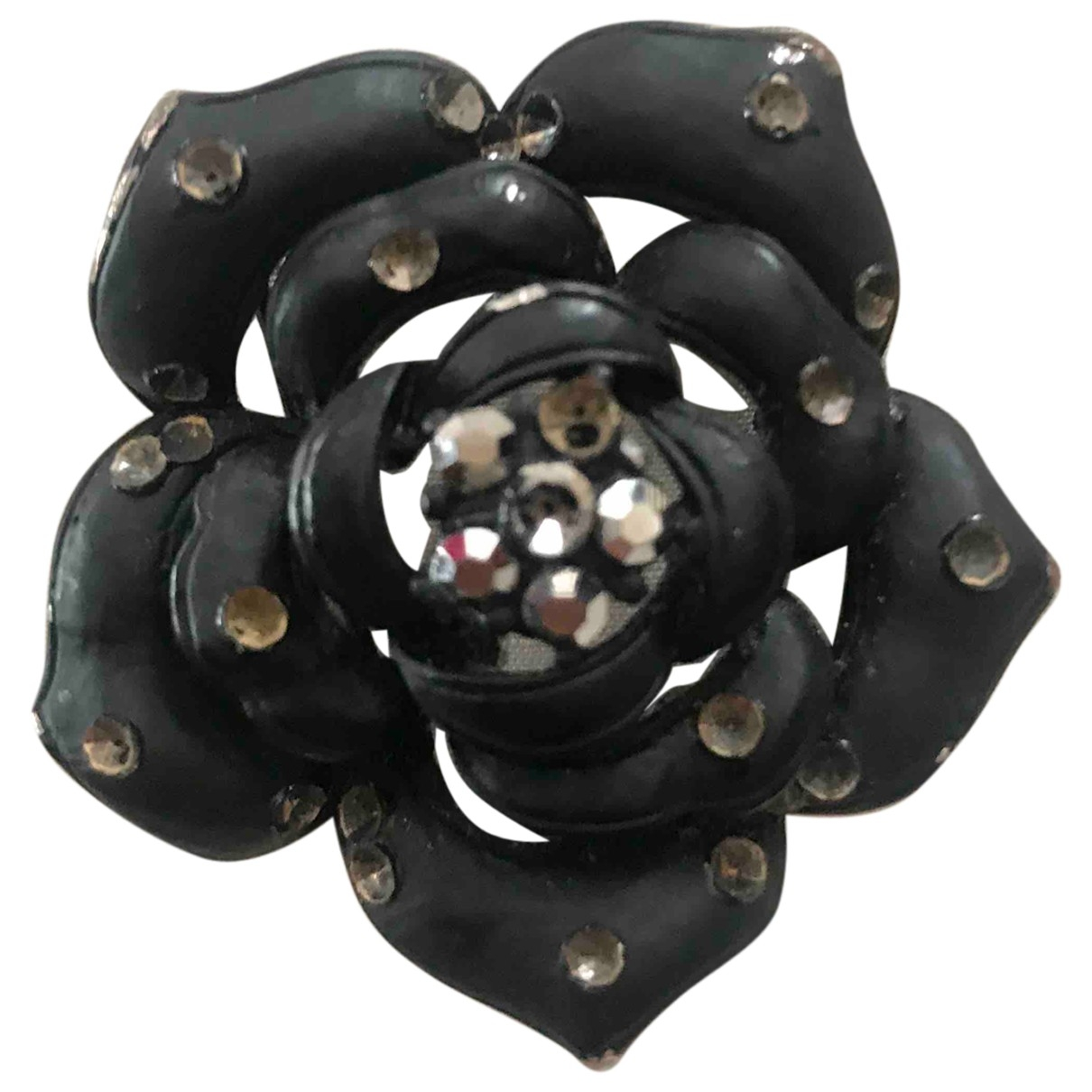 Non Signé / Unsigned Motifs Floraux Black Metal Pins & brooches for Women \N