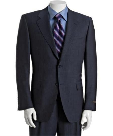 2Button Navy Pinstriped Wool Suit with Single Pleated Trousers Mens