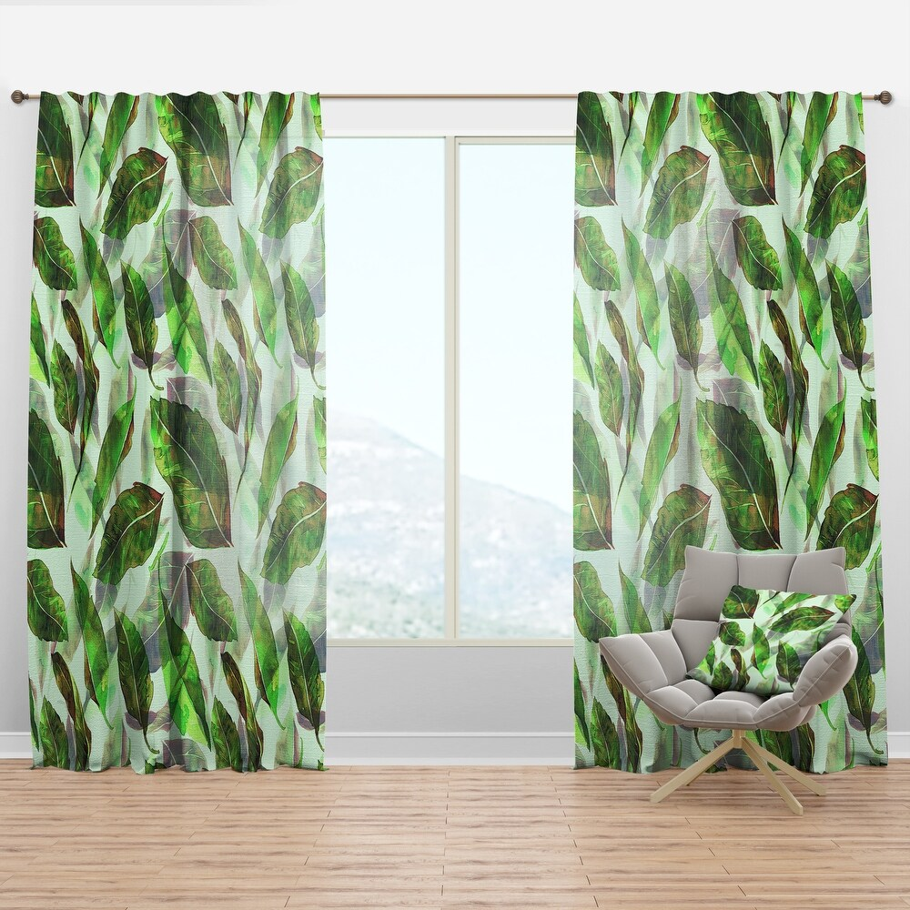 Designart 'Leaves Pattern' Modern & Contemporary Curtain Panel (50 in. wide x 84 in. high - 1 Panel)