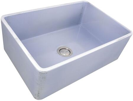 Vineyard Collection FCFS3020S-ShabbySugar 30 Farmhouse Fireclay Sink with Porcelain Enamel Glaze Finish and Distressed Detailing in Light