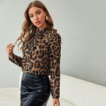 Tie Neck Leopard Chiffon Top