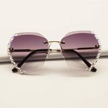 Rhinestone Decor Rimless Sunglasses
