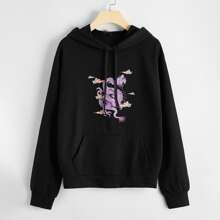 Plus Chinese Dragon Print Drawstring Hoodie