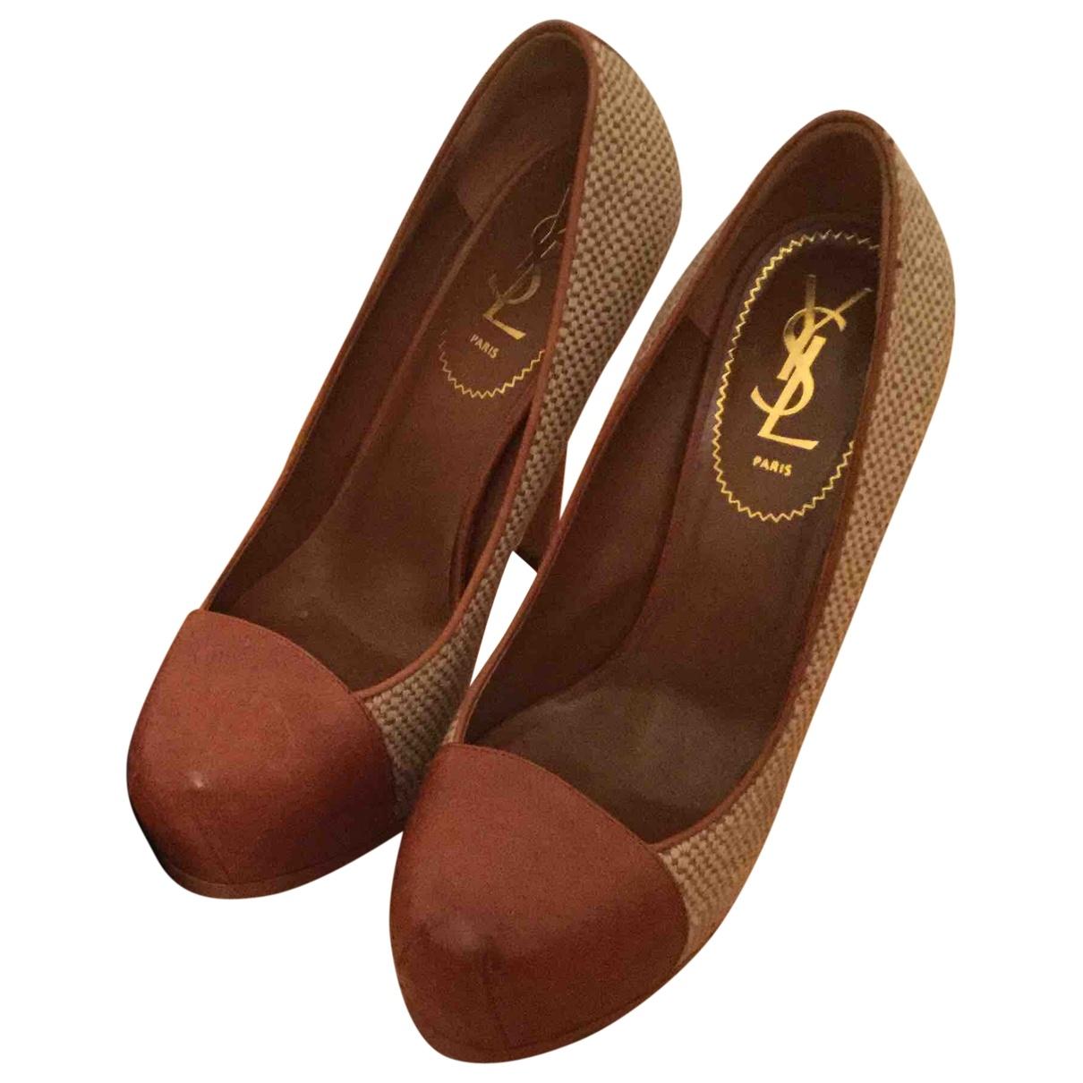 Yves Saint Laurent Trib Too Brown Leather Heels for Women 39 EU