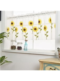 Sheer Shades Embroidered Sunflowers Sheer Voile Curtain Valance for Cabinet and Kitchen Window