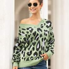 Pullover mit Gepard Muster und V-Kragen