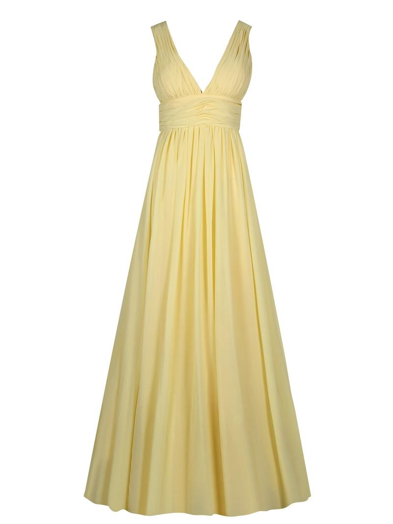Ericdress V Neck Backless Pleats A Line Evening Dress