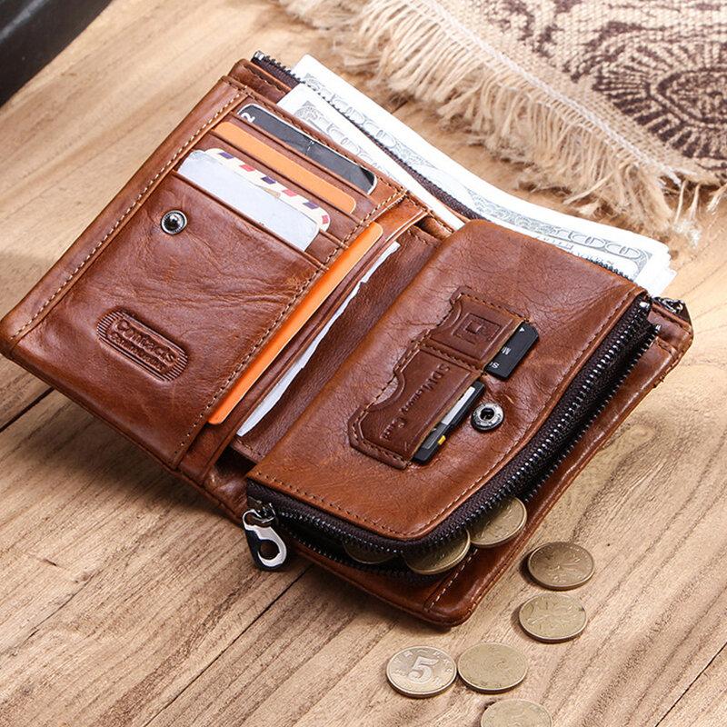 Men Retro Genuine Leather RFID Multi-slots SIM Card Money Clip Coin Purse Wallet
