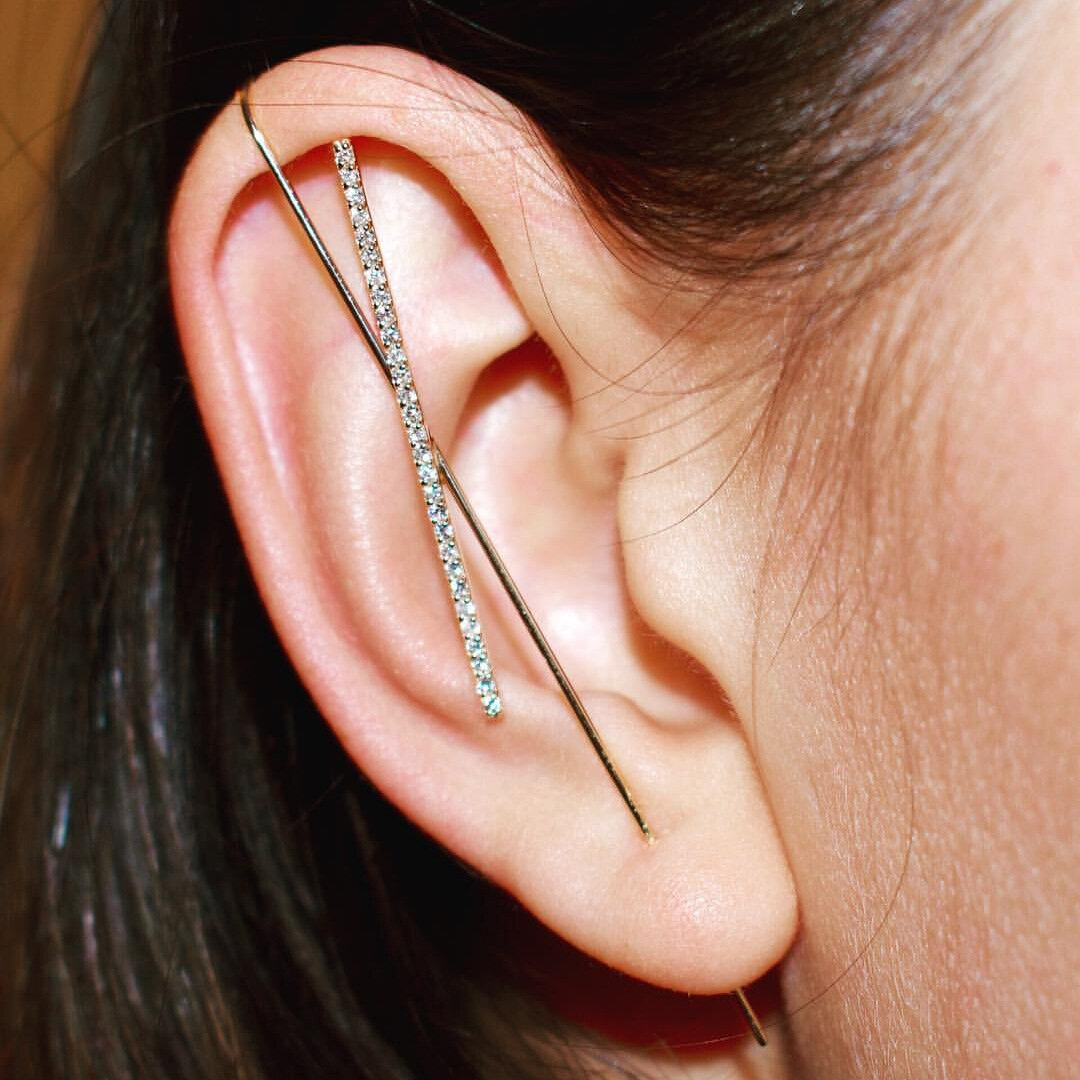 Copper Inlaid Zircon Plated Gold Puncture Earrings Surround Auricle Women Ear Clip
