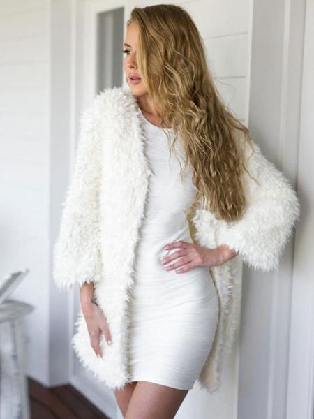 Milanoo Abrigo Mujer Abrigo Blanca Peludo de Piel Sintetica con Mangas Largas Chaqueta de Invierno 2020