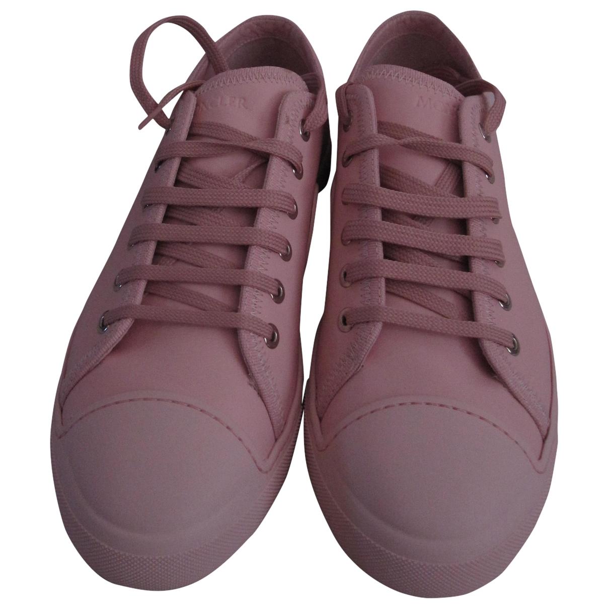 Moncler - Baskets   pour femme en cuir - rose