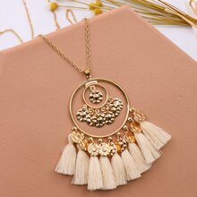 Tassel & Disc Charm Necklace