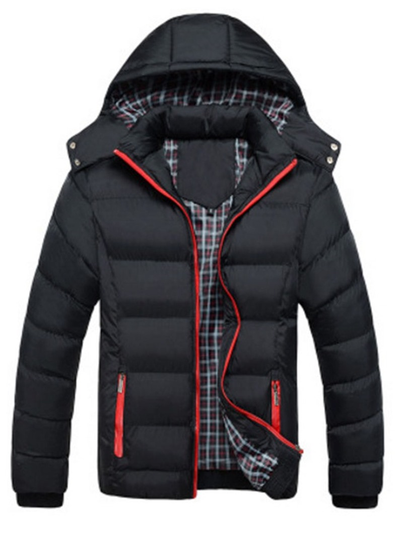Ericdress Patchwork Hooded Standard Zipper European Men's Down Jacket