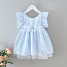 Kleinkind Maedchen Kleid mit Schleife vorn und Raffung