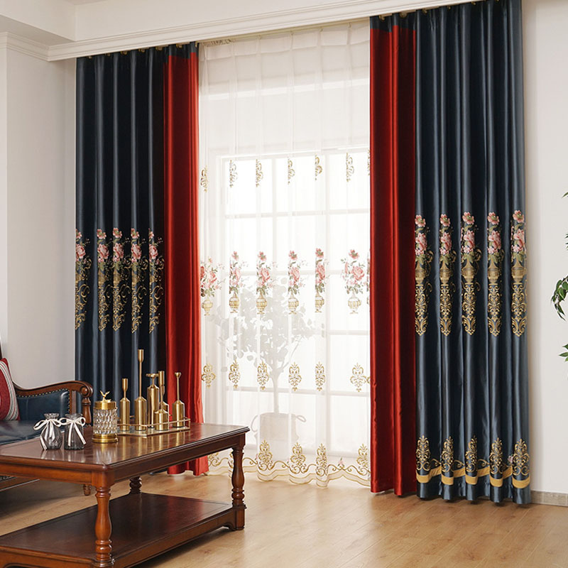 Elegant Embroidery 2 Panels Physically Blocks Light Nicely Prevents UV Ray Machine Wash Accepted Black Out Curtains