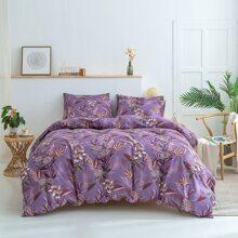 Set de cama con estampado de planta sin relleno