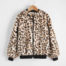 Chaqueta teddy con capucha con cremallera de leopardo