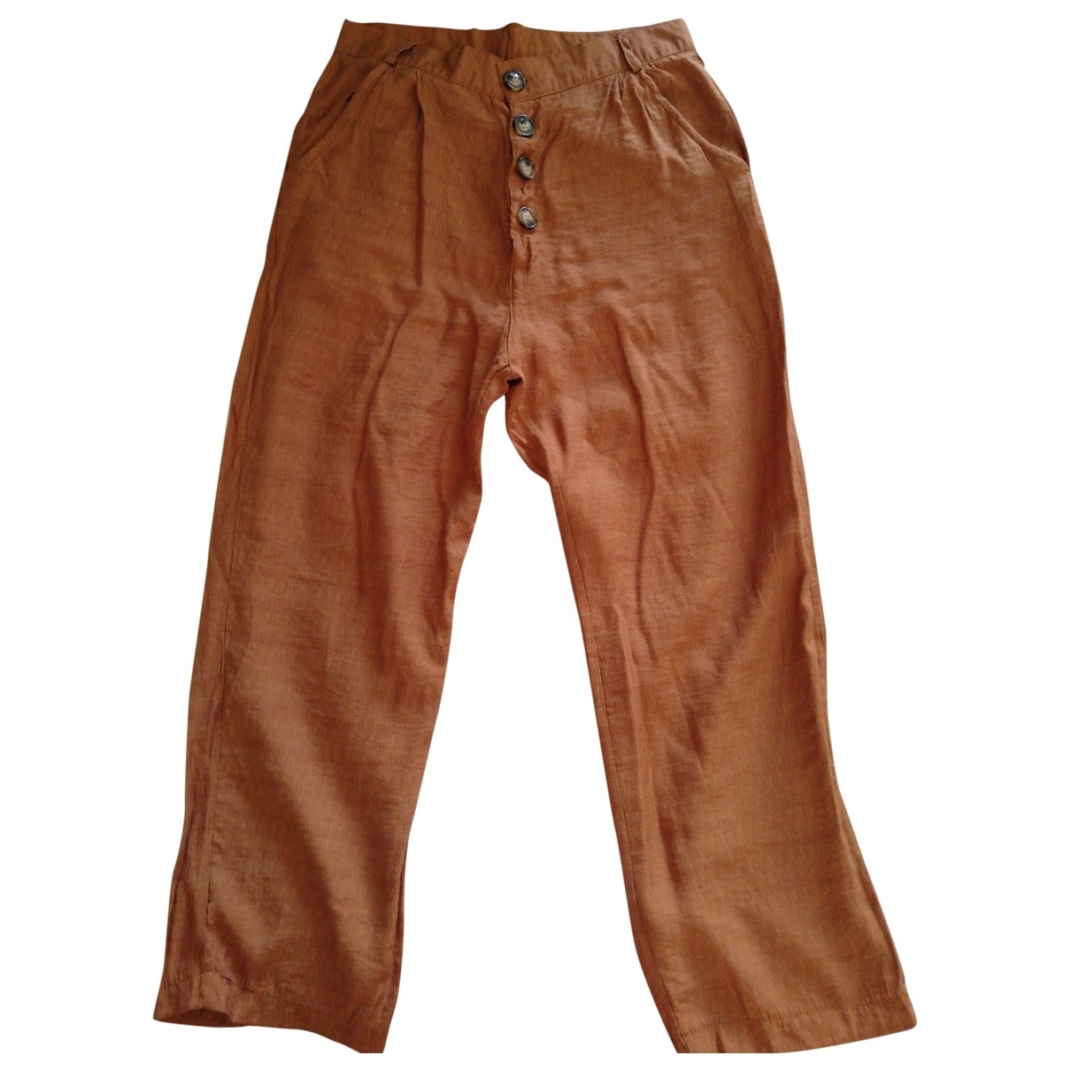 Non Signé / Unsigned Hippie Chic Brown Trousers for Women M International
